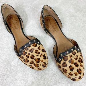 Corso Como Studded Calf Hair Leopard D'Orsay Flats